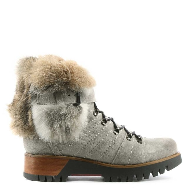 Grey Suede Fur Trim Walking Boot