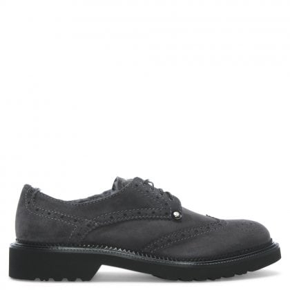 Grey Suede Lace Up Brogue