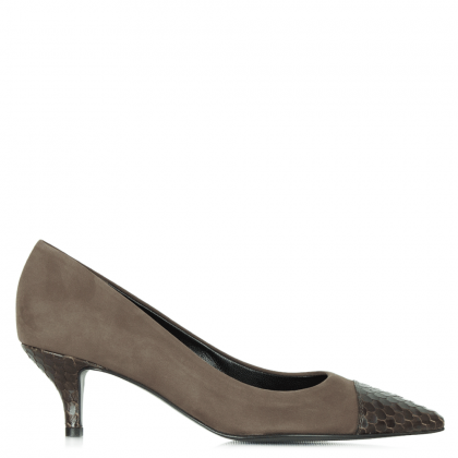 Kennel & Schmenger Grey Suede Reptile Dwelf Court Shoe