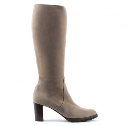 Grey Suede Stacked Heel Knee Boot