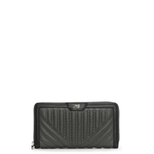 Cavalli Class Grey Two Tone Leather Studded Zip Around Wallet