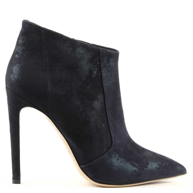 Greymouth Navy Suede Metallic Pointed Toe Ankle Boot