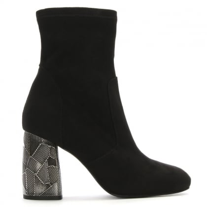 Grouper Black Suede Metal Block Heel Ankle Boots