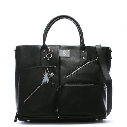 Guip Black Asymmetric Zips Day Bag