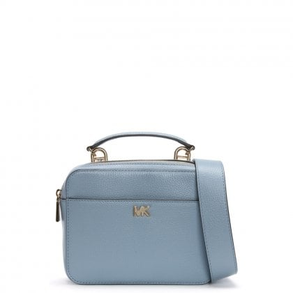 Guitar Pale Blue Pebbled Leather Cross-Body Bag