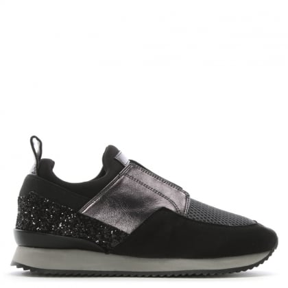Gulper Black Suede & Glitter Laceless Trainers
