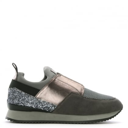 Gulper Grey Suede & Glitter Laceless Trainers