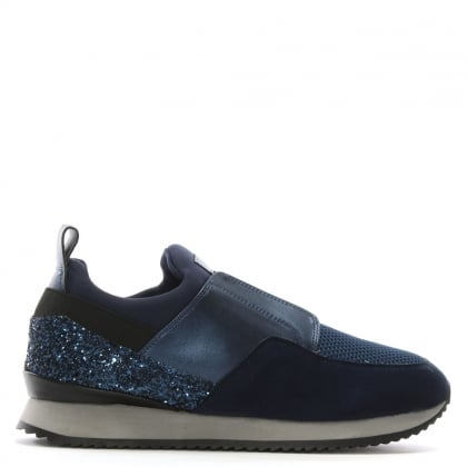 Gulper Navy Suede & Glitter Laceless Trainers