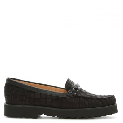 Guppy Black Suede Croc Embossed Loafers