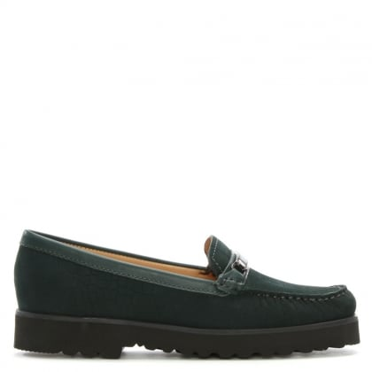 Guppy Green Suede Croc Embossed Loafers