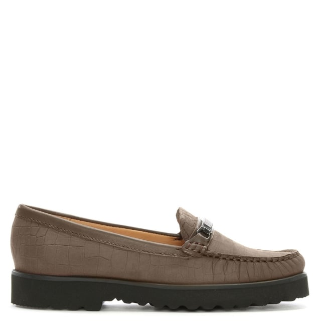 Guppy Taupe Suede Croc Embossed Loafers