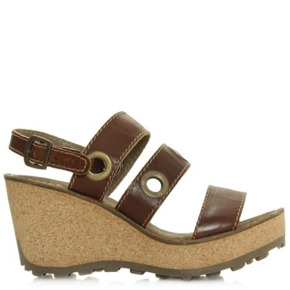 Guse Tan Leather High Cork Wedge