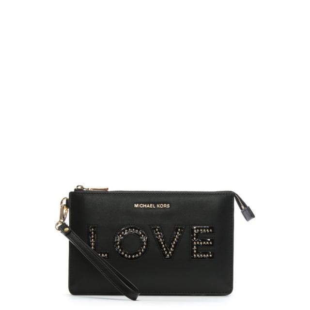 838db3edc7b2 Michael Kors Gusset Black Leather Love Wristlet Clutch Bag