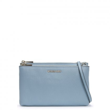 Gusset Pale Blue Pebbled Leather Cross-Body Bag