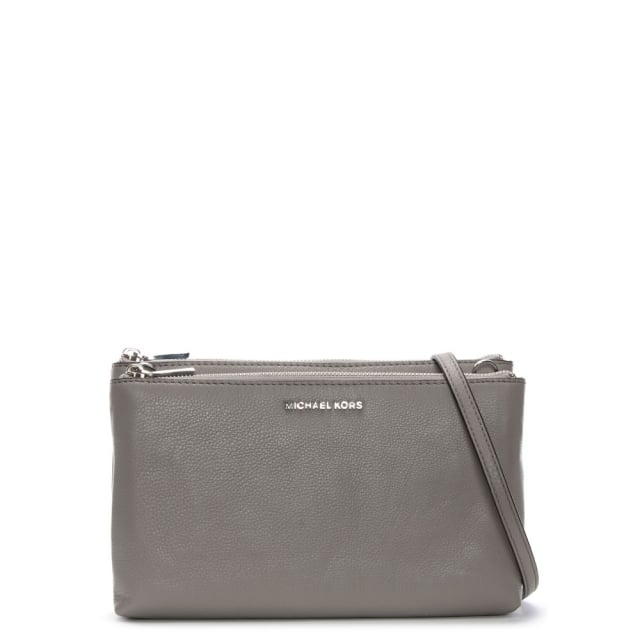 Gusset Pearl Grey Pebbled Leather Cross-Body Bag