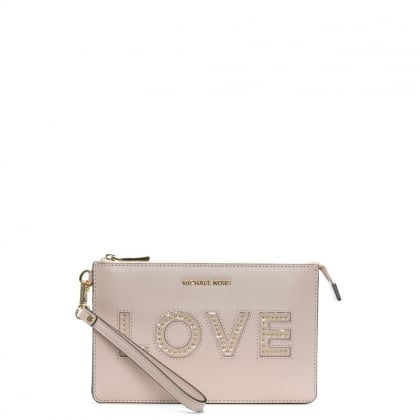 Gusset Soft Pink Leather Love Wristlet Clutch Bag
