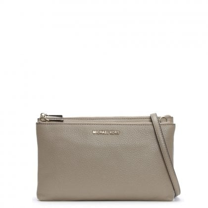 Gusset Truffle Pebbled Leather Cross-Body Bag
