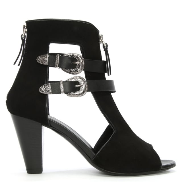 Gwen Black Suede Cut Away Sandal