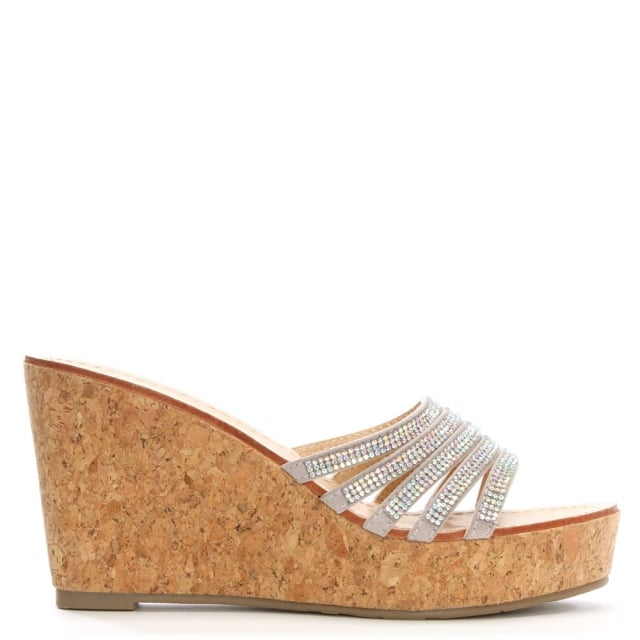 Hadid Silver Diamante Cork Wedge Mule