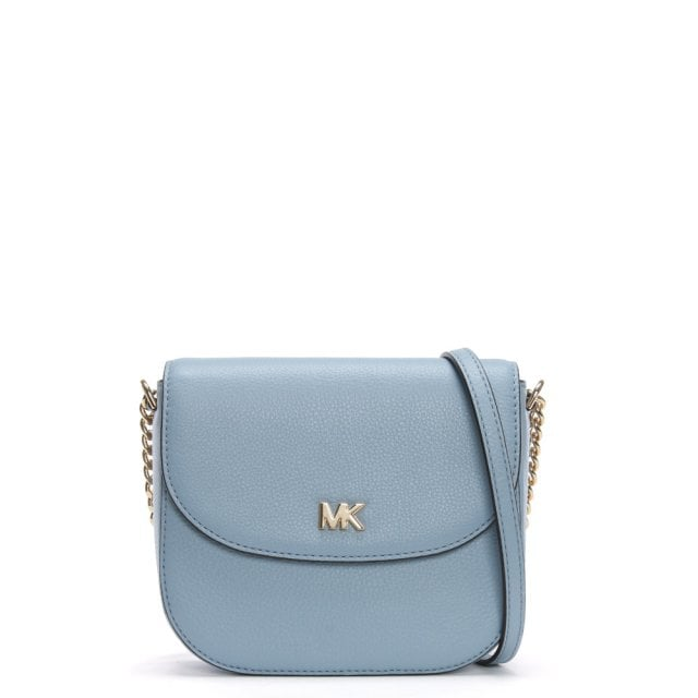 92ca8768346584 Michael Kors Half Dome Pale Blue Leather Cross-Body Bag