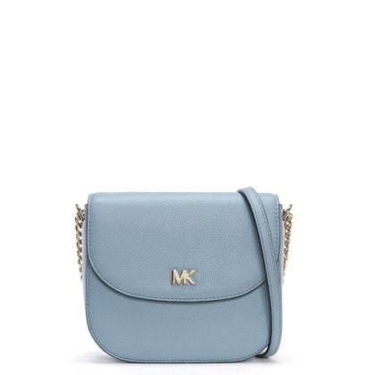 Half Dome Pale Blue Leather Cross-Body Bag