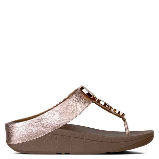 2018f070f FitFlop Halo Rose Gold Leather Toe Post Sandals
