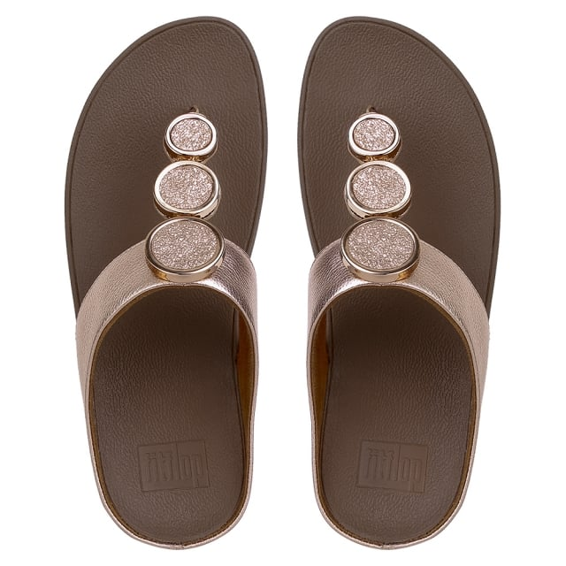 45a475aaf4cf FitFlop Halo Rose Gold Leather Toe Post Sandals