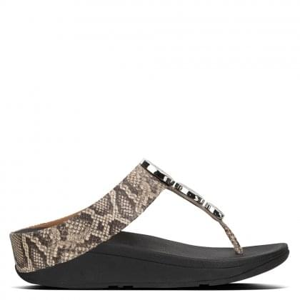 Halo Taupe Snake Leather Toe Post Sandals
