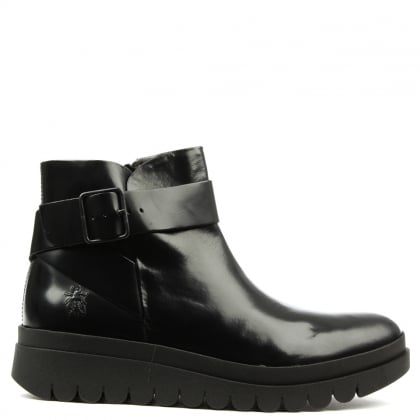 Halp Black Leather Buckle Wedge Ankle Boot