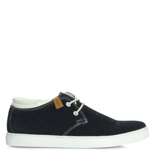 Hamlin Navy Suede Lace Up Mid Top Trainer