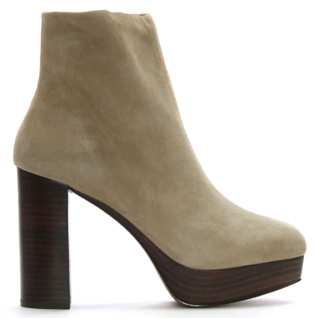Shellys London Hammersmith Beige Suede Platform Ankle Boots