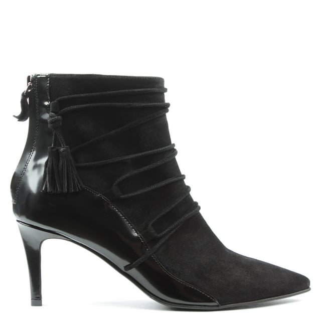 Hammett Black Suede Zip Back Ankle Boot