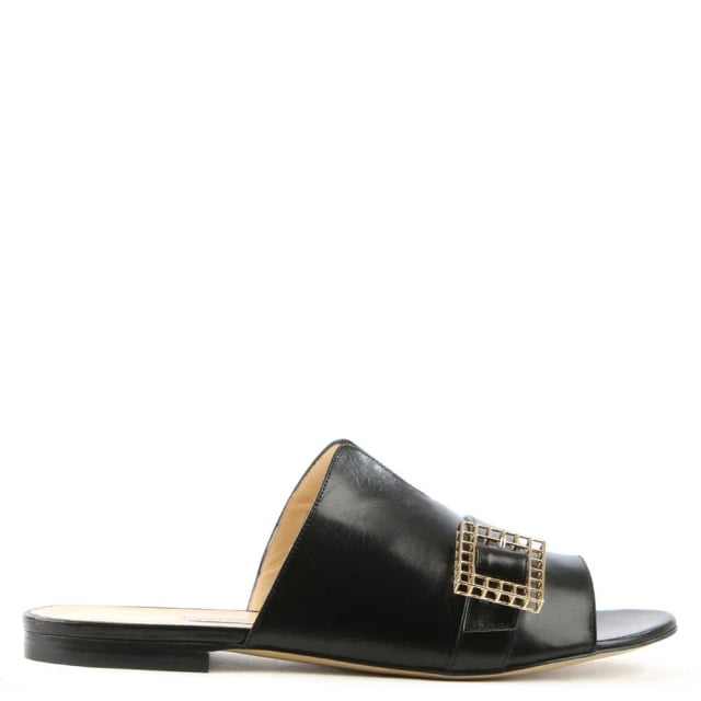 Hanne Black Leather Slip On Slider