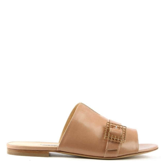 Hanne Nude Leather Slip On Slider