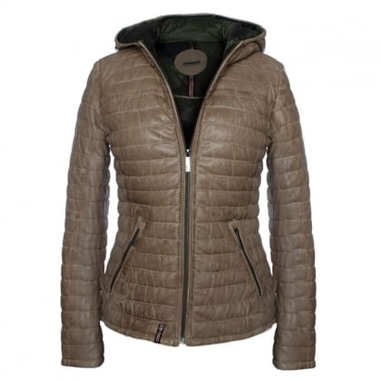 Happy Beige Leather Hooded Jacket