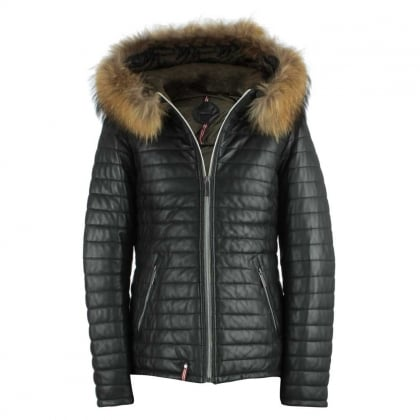 Happy Black Leather Fur Trim Hooded Jacket