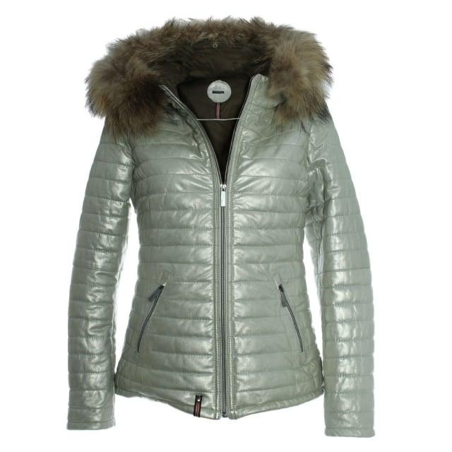 Oakwood Happy Gold Metallic Leather Fur Trim Hooded Jacket
