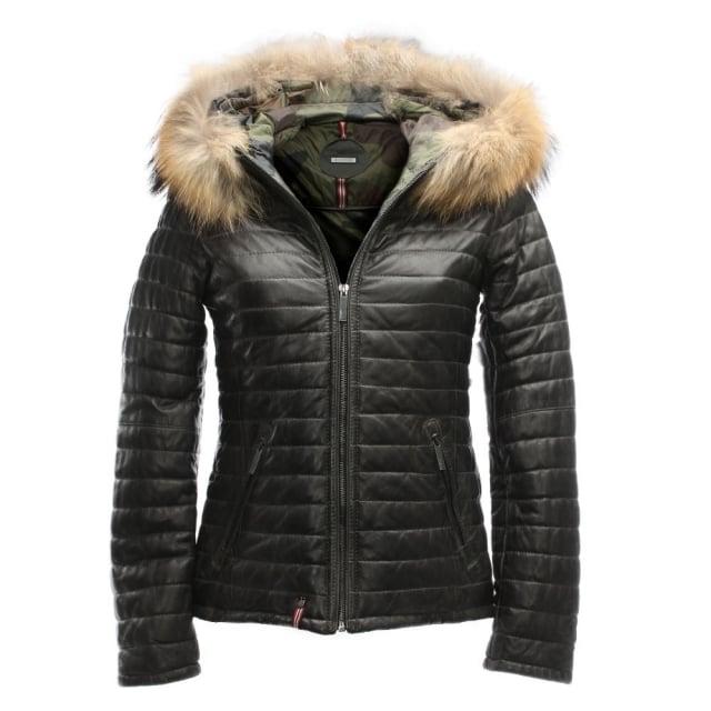 Oakwood Happy Grey Leather Fur Trim Hooded Jacket