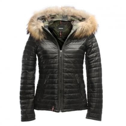 Happy Grey Leather Fur Trim Hooded Jacket