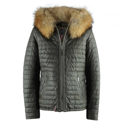 Happy Khaki Leather Fur Trim Hooded Jacket