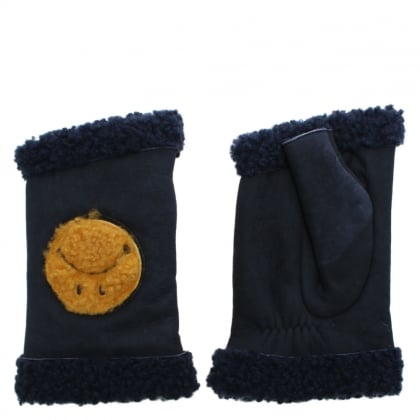 Happy Navy Suede Smiley Face Fingerless Gloves