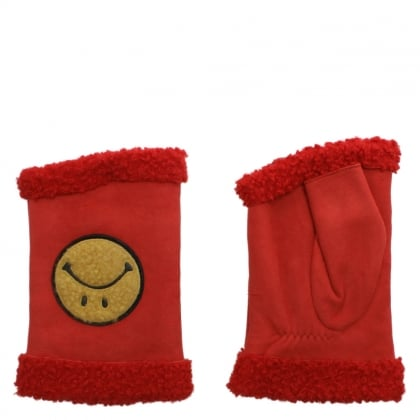 Happy Red Suede Smiley Face Fingerless Gloves