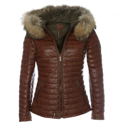 Happy Tan Leather Fur Trim Hooded Jacket