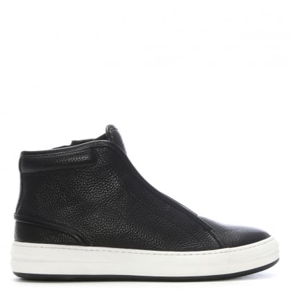 Harbottle Black Leather High Top Trainers