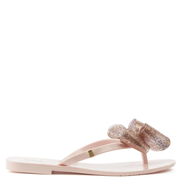 486bc45ad Melissa Harmonic Glitter Bow Pink Flip Flop