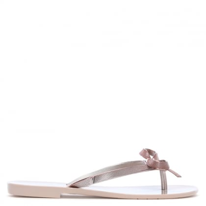Harmonic Metallic Rose Gold Bow Flip Flops