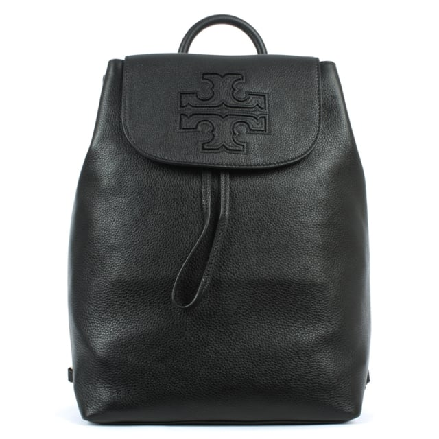 Harper Black Leather Backpack