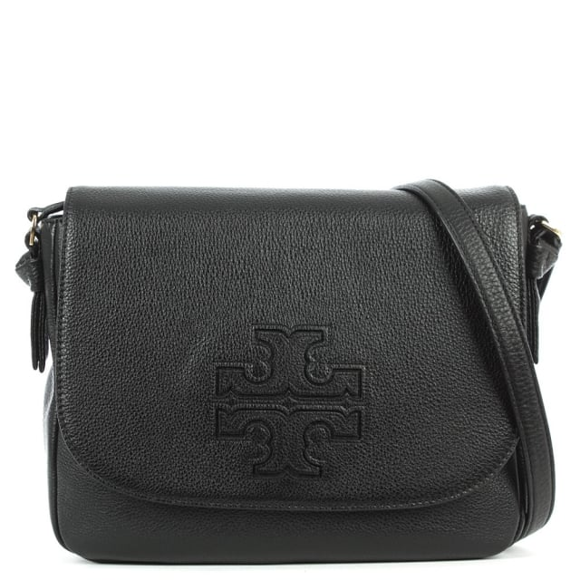 Harper Black Leather Messenger Bag