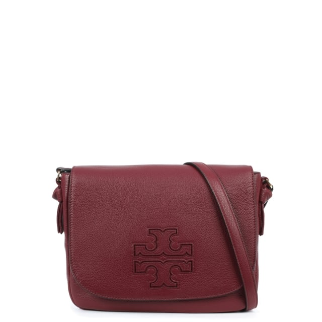 Harper Burgundy Leather Messenger Bag
