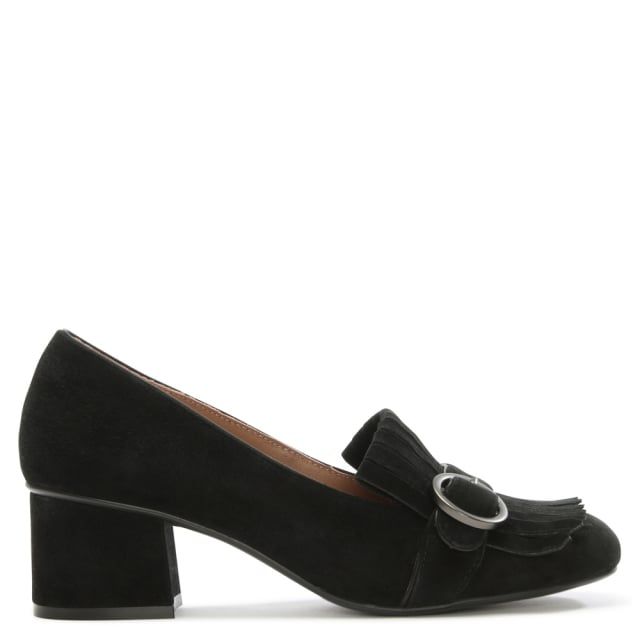 Harpole Black Suede Buckle Block Heel Pump